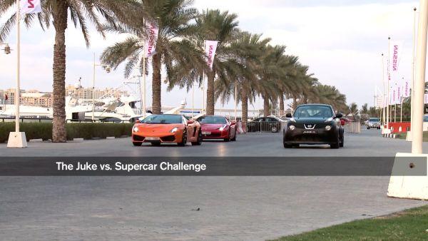 Video: Nissan Juke R, Gallardo, SLS AMG ve 458 Italia'nın önünde