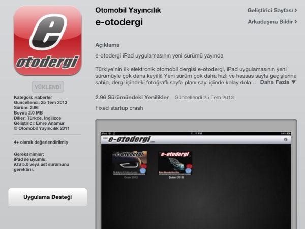 e-otodergi iPad uygulaması güncellendi