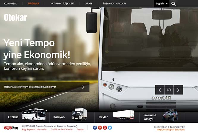 Otokar'ın yeni web sitesi yayına girdi